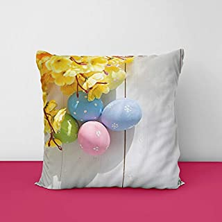 41Soey0Er6L. SS320 Holiday Colourfull Easter Eggs Square Design Printed Cushion Cover