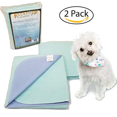 Kluein Pet Washable Pee Pads Dogs & Puppies 2 Pack XL 34 x 36 inch Waterproof Reusable; Puppy Playpen; Potty Training, Whelping; Dog Crate; Housebreaking