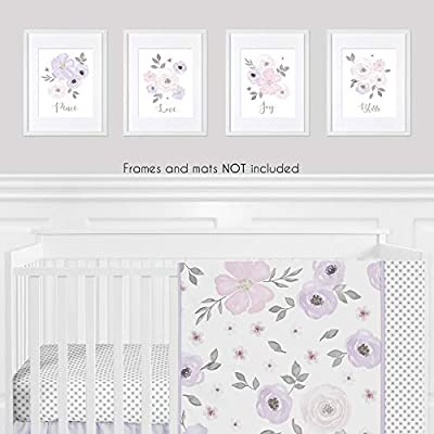 Sweet Jojo Designs Lavender Purple, Pink Grey and White Wall Art Prints Room Decor for Baby, Nursery, and Kids for Watercolor Floral Collection - Set of 4 - Peace, Love, Joy, Bliss