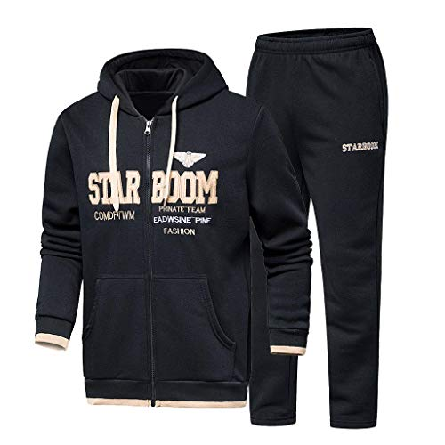 Men's Autumn Winter Hooded Print Sweatshirt Top Pants Sets Sport Suit Tracksuit]()