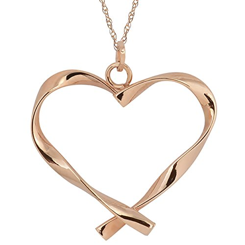 Kooljewelry 10k Rose Gold Twisted Flat Heart Pendant on A Dainty Rope Chain (18 inch)