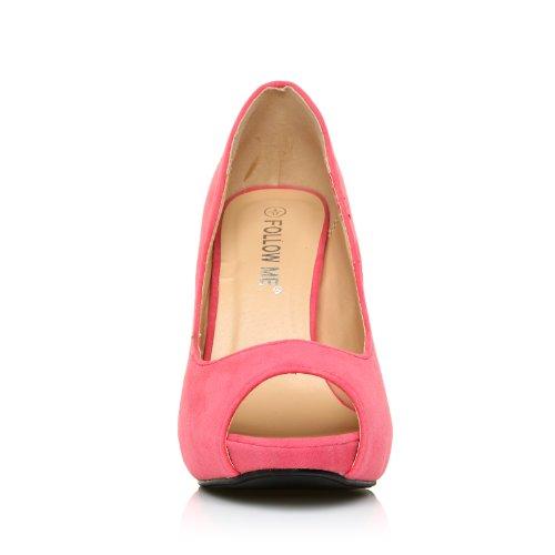 TIA - Chaussures à talons aiguilles - Plateforme - Bout ouvert - Corail - Effet daim