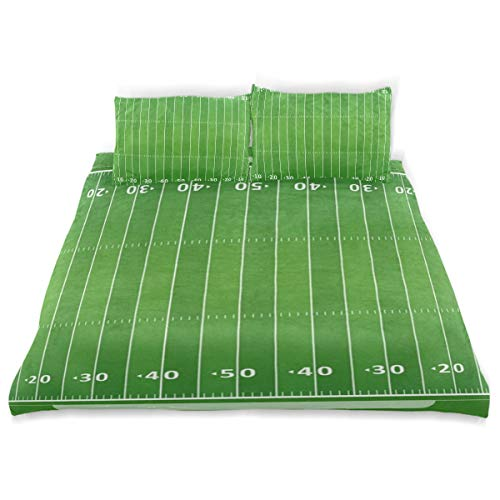 (OSBLI Bedding Duvet Cover Set 3 Pieces American Football Field Bed Sheets Sets and 2 Pillowcase for Teens)