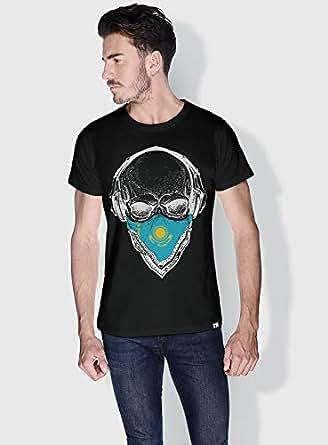 Creo Kazakhstan Skull T-Shirts For Men - L, Black