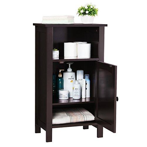 SONGMICS Bathroom Floor Storage Cabinet Adjustable Shelf Espresso UBCB45Z