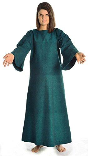 beige S Damenkleid Skapulier mit Kleid HEMAD Damen XL mit grün Baumwolle grün Leinenstruktur Mittelalter YUqA4xwOa