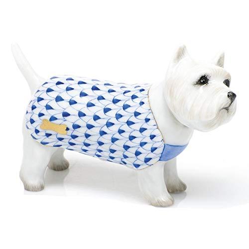 Herend West Highland Terrier Puppy Dog Porcelain Figurine Sapphire Fishnet