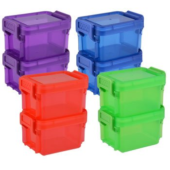 4 Mini Heavy Duty Plastic Containers With Snap Close Lids