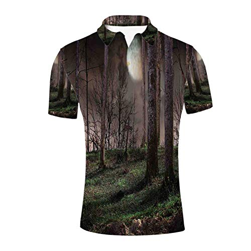 Gothic Durable Polo Shirt,Dark Night in The Forest with Full Moon Horror Theme Grunge Style Halloween for -