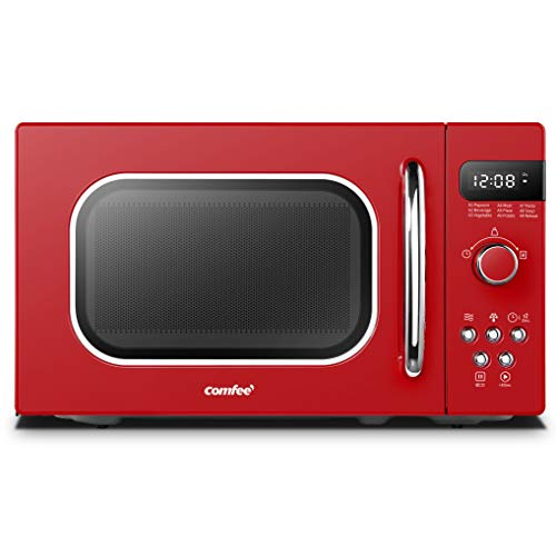 Comfee AM720C2RA-R Retro Style Countertop Microwave Oven with 9 Auto Menus Position-Memory Turntable, Eco Mode, and Sound On/Off (Passionate Red)
