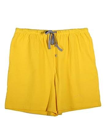 D&P Women's Cotton Drawstring Shorts,Yellow S