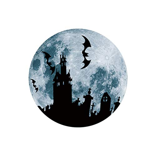 AUWU 30cm Large Moon-Shaped Luminous Halloween DIY Wall