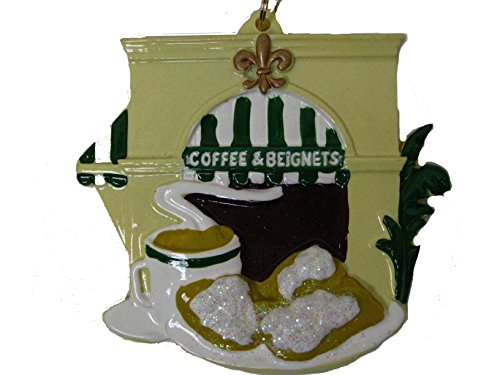 Coffee and Beignets New Orleans Christmas Ornament with Free Drawstring Pouch/ Bag