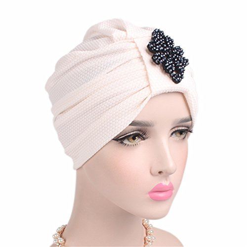 Sweater In Cut Beaded (Qhome Fashion Women's Luxury Beaded Diamond Jewerly Knotted Turban Hat Beanie Chemo Cap Cancer Hat Cap Chemo Hair Loss Cap)