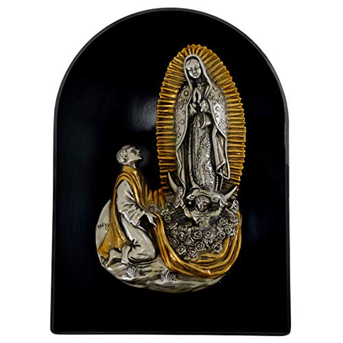 High-End Decor - Our Lady of Guadalupe Virgin Mary with Juan Diego Embossed Wall Plaque - Wall Hanging Religious Art Metallic Home Decoration - Nickel/Brass (12 1/4 inches)