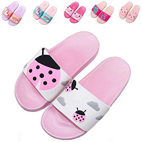 Elcssuy Kids Summer Slide Sandals Non-Slip Beach Water Shoes Pool Bath Slippers Sport Slides for Boys Girls(Toddler/Little Kid) Pink ladybug33 -