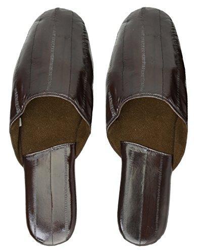 Pantofole Di Pelle Di Anguilla Marrone