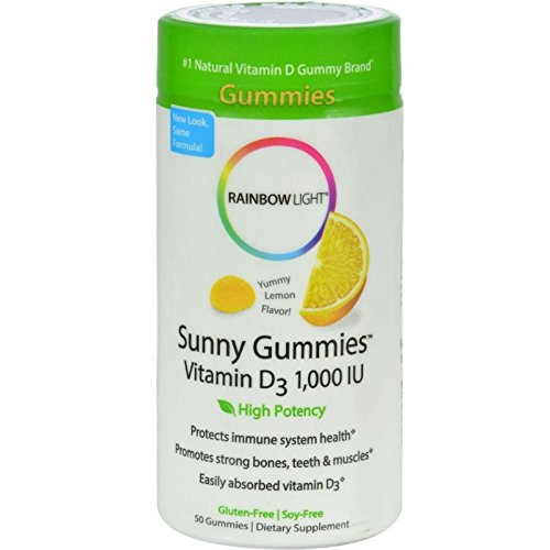 Rainbow Light Vitamin D3 1000 IU Sunny Gummies Lemon 50 ea (Pack of 6)