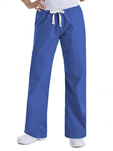 (Urbane Essentials Women's Boot Cut Scrub Pants Large Petite, Royal Blue, Large Petite)