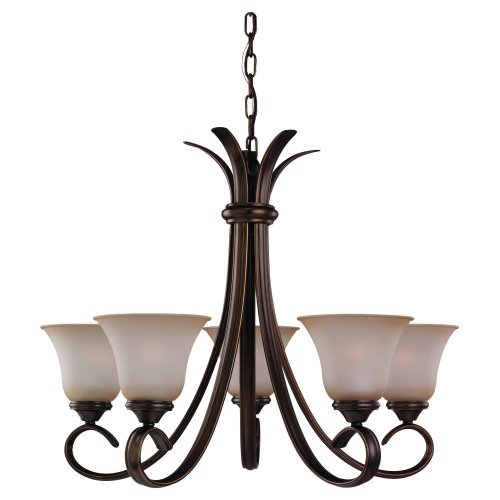Sea Gull Lighting 31361-829 Five-Light Rialto Chandelier with Ginger Glass Shades, Russet Bronze ()