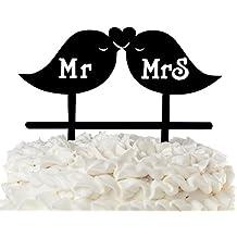 Mr & Mrs Wedding Cake Topper Love Birds Black Acrylic Lovebirds with Heart (Mr & Mrs Lovebirds)