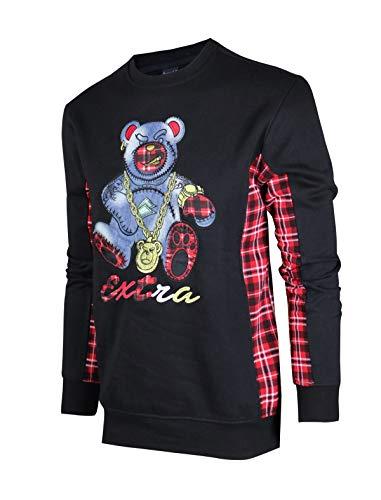 SCREENSHOTBRAND-F11966 Mens Urban Hip Hop Premium Fleece - Pullover Activewear Street Fashion Crew Neack Sweatshirt-Black-XLarge