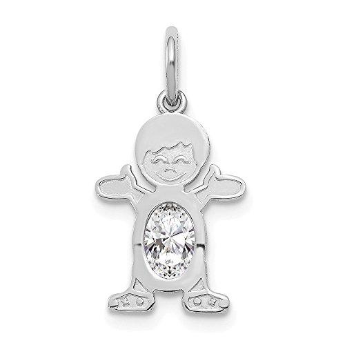 Jewelry Pendants & Charms Birthstone 14K White Gold Boy 6x4 Oval Genuine White Topaz-April