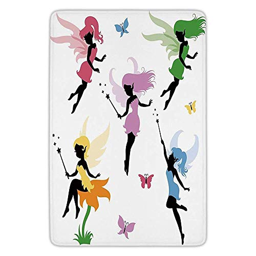 K0k2t0 Bathroom Bath Rug Kitchen Floor Mat Carpet,Fantasy,Cute Pixie Spirit Elf Fairies Flying with Butterflies Girls Princess Flowers Design,Multicolor,Flannel Microfiber Non-Slip Soft Absorbent