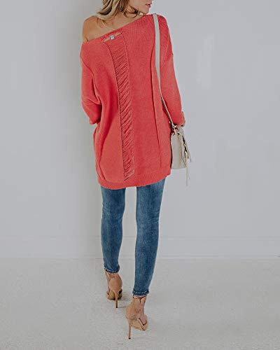 Donna Cotone Maglione V a Rosso Inverno Maglieria Maglione Donna ZiXing Scollo qdB0xAwA5