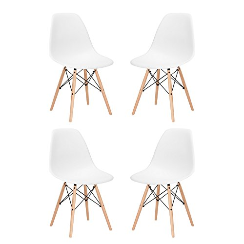 HollyHOME Eames Style Molded Dining Side Chair with Wood Legs Mid Century Modern Plastic Chair, Set of 4