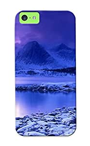 NFyzgWx3396rcucb Snap On Case Cover Skin For Iphone 5c(cold Mountain Lake At Dusk, Skarstad, Norway )