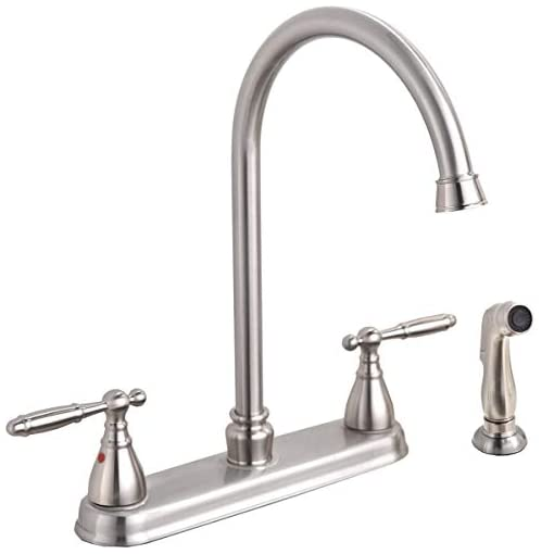 Kitchen Modern Lead Free High Arc Swivel Spout Two Handle Side Sprayer Kitchen Faucet, Brushed Nickel Finished Kitchen Sink… modern sink faucets