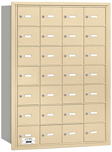 Salsbury Industries 3628SRU 4B Plus Horizontal Mailbox, 28 A Doors, Rear Loading, USPS Access, Sandstone