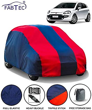 Fabtec Car Body Cover For Fiat Punto With Storage Bag Red Blue