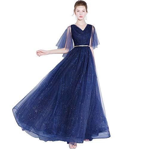 YT-RE Vestido de Fiesta Banquete Mujer Vestido de Noche Largo Delgado Ángel Vestido de Novia de Tul con Cuello en V, Azul Marino, l