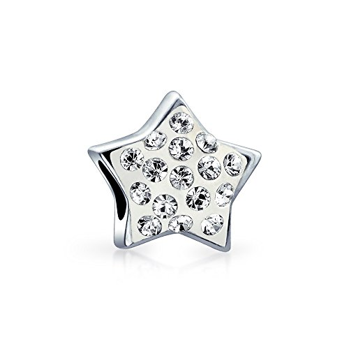 Crystal Patriotic Star - Star Bead Charm Patriotic Celestial Crystal Accent High Polish 925 Sterling Silver