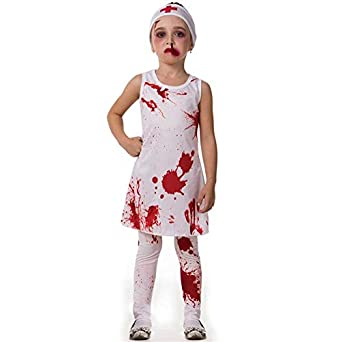 f3ab08f1c Fantasia de Halloween Infantil Feminina Enfermeira Assassina Com Touca P 2-4