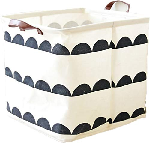 LNHOMY Square Fabric Toy Storage Bins Basket Canvas Cube Foldable Organizer with Handle Collapsible for Home Nursery Kid's Toy, Laundry,Shelf Basket, Closet, Half Round (13