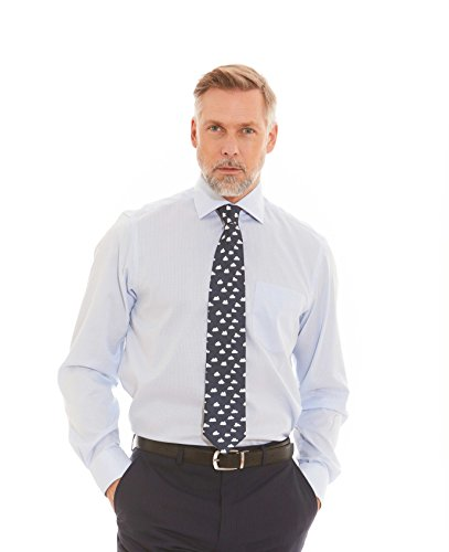 Savile Row Men's Blue White Mini Gingham Classic Fit Shirt - Single Cuff Blue White