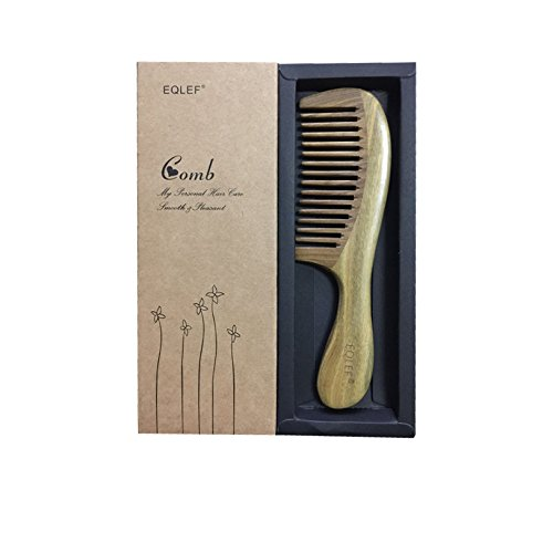 EQLEF® Wide-Lupe, Grüne Sandelholz keine statische handgefertigten Kamm (Weitzahn)