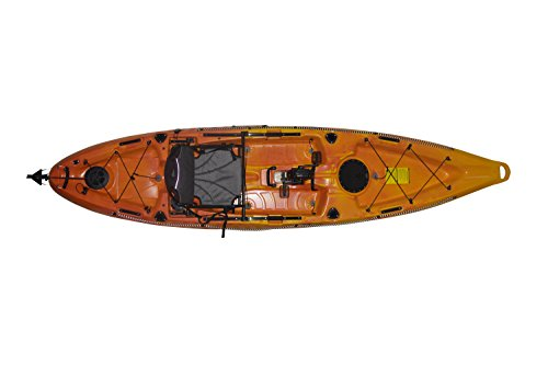 "Fishing Kayak Riot Mako 12"" ft Sit on Top with Impulse Pedal Drive, Deluxe, Yellow/Orange"