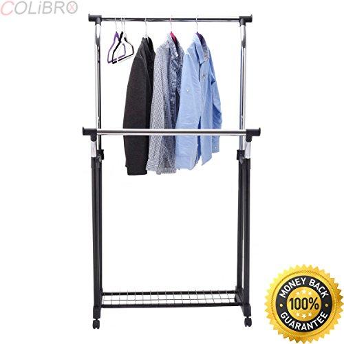 COLIBROX--Double Rail Adjustable Garment Rack Rolling Clothes Hanger w/Shoe Rack Portable. garment rack walmart. rolling garment rack walmart. rolling clothes rack home depot.best garment rack target.