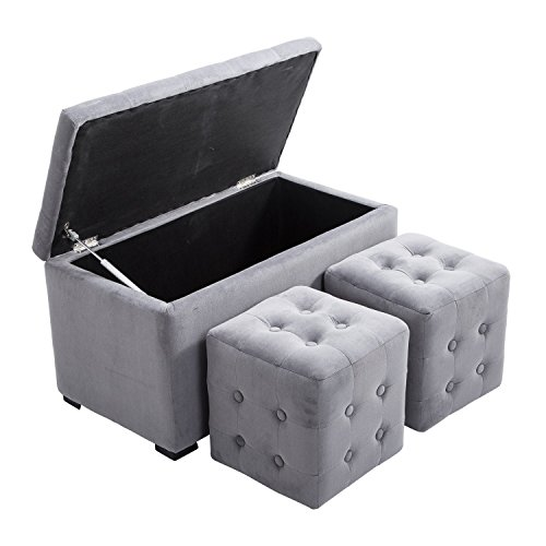 HomCom 3 Piece Tufted Microfiber Storage Bench/Cube Ottoman Set -