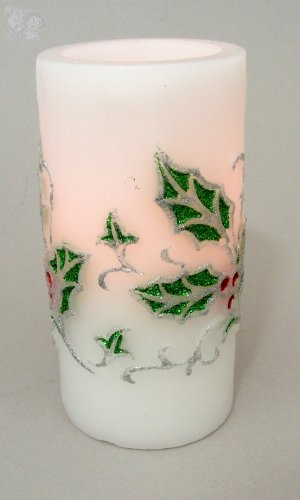 LED Safe Flameless White Candle w/Holly and Berries - Holly Berry Designs