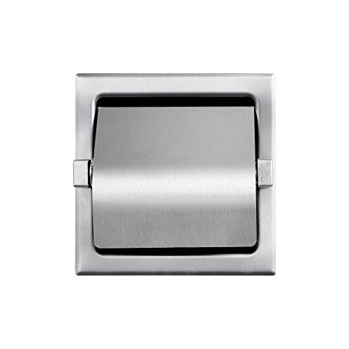 Dependable Direct Recessed Single Roll Hooded Toilet Paper Holder - Stainless Steel - Satin Finish - See Dimension