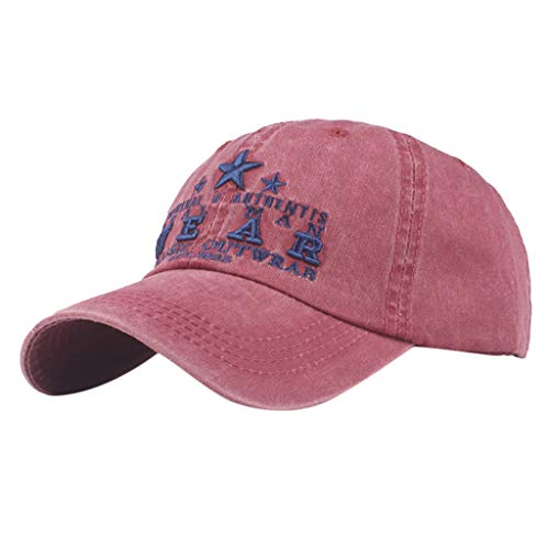 TANGSen Women Men WEAR Letter Hat Retro Casual Washed Denim Cap Adjustable Mesh Dad Hat Fashion Baseball Cap Topee(Pink,One Size) ()