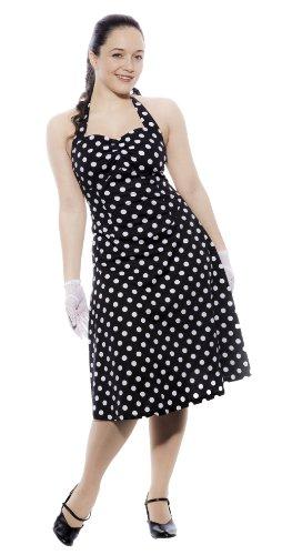 Hey Viv ! Retro Rockabilly Polka Dot Halter Dress - Black and White (Small)