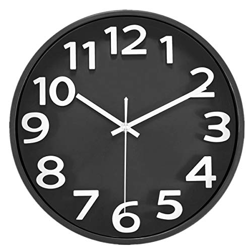 Lucor Large Number Wall Clock, Silent Non-ticking - 12 inch Quality Quartz Battery Operated Round Easy to Read 3D Numbers Clock Modern Style for Home/Office/School (Kitchen Clocks Modern)
