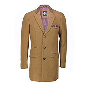 Xposed Manteau d'hiver 3/4 long pour homme en laine mélangée