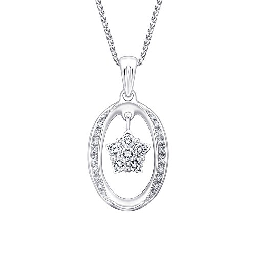 MaBelle 18K White Gold Diamond Oval and Star Pendant w/ 925 Sterling Silver Chain Necklace (0.24 - Pendant Diamond 18k Gold White Star